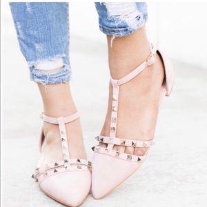 Shoes - 🔥FLASH SALE🔥Blush Vegan Suede Ankle Strap Flats!